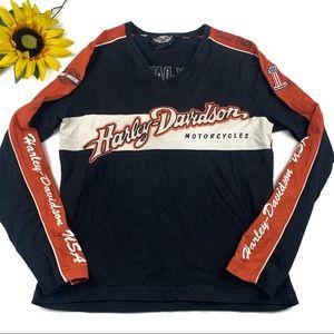 Harley Davidson Biker Long Sleeve V Neck Shirt